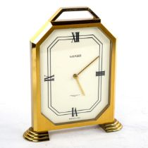 LUXOR - a Vintage brass-cased mantel clock, retailed by Garrard & Co Ltd, white enamel dial with