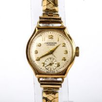 J W BENSON - a lady's Vintage 9ct gold mechanical bracelet watch, ref. 87757, silvered dial with