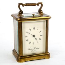 A large brass-cased repeating carriage clock, by Charles Frodsham of London, white enamel dial