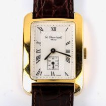 LE CHEMINANT - a modern gold plated stainless steel mechanical wristwatch, rectangular silvered dial