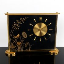 JAEGER LECOULTRE - a brass-cased Marina 8-day mantel clock, gilt dial with arrowhead hour markers,