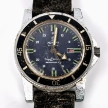 MORTIMA - a Vintage stainless steel Superdatomatic mechanical wristwatch, blue dial with luminous