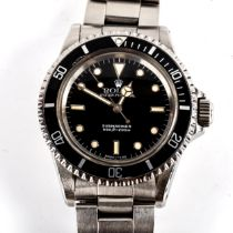 ROLEX - a Vintage stainless steel Oyster Perpetual Submariner automatic bracelet watch, ref. 5513,