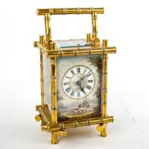 A 19th century brass-cased repeating carriage clock, hand painted farmyard enamel dial with Roman