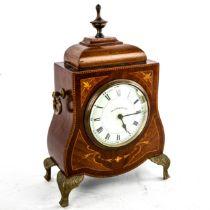 An Edwardian inlaid shaped mahogany mantel clock, by Walker & Hall Ltd, white enamel dial with Roman