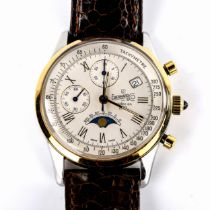 EBERHARD & CO - a Vintage stainless steel and gold plated 75 Year Chronograph Anniversary