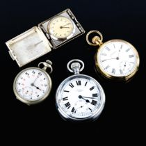 4 various pocket watches, including gold plated Waltham (4) Lot sold as seen unless specific item(s)