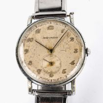 MOVADO - a Vintage stainless steel mechanical bracelet watch, ref. 32789, silvered dial with Breguet