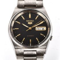 SEIKO 5 - a Vintage stainless steel automatic bracelet watch, ref. 7S26-3130, dark grey dial with