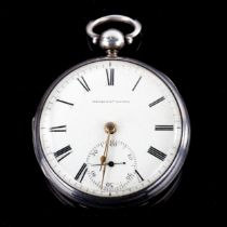 An early 19th century silver-cased open-face key-wind pocket watch, white enamel dial with Roman