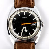 TIMEX - a Vintage stainless steel automatic wristwatch, black dial with white baton hour markers,