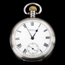WALTHAM - a silver-cased open-face keyless-wind pocket watch, white enamel dial with Roman numeral