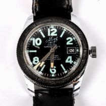 MIGH - a Vintage stainless steel Superdatomatic Diver's mechanical wristwatch, black dial with