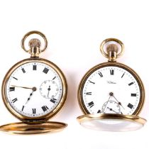 2 x gold plated pocket watches, including open-face keyless-wind Waltham example, and unnamed full
