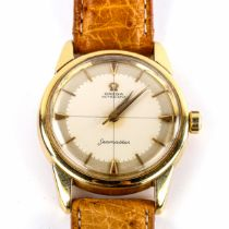 OMEGA - a Vintage 18ct gold Seamaster automatic wristwatch, circa 1958, silvered dial with baton and