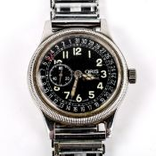 ORIS - a Vintage stainless steel Pointer Date automatic bracelet watch, ref. 2462, black dial with