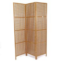 A pine 3-fold lattice panelled screen, H182cm