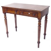 A 19th century writing table, with 2 frieze drawers on turned legs, W88cm, H76cm, D44cm