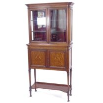 A Victorian mahogany glass-fronted display cabinet, with cupboard below, W76cm, H163cm, D33cm