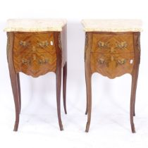 A pair of French walnut bedside chests, with shaped marble tops, 2 frieze drawers and ormolu mounts,