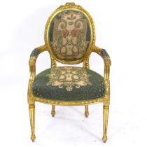 A Continental design giltwood salon open armchair, with Art Nouveau design upholstery