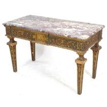 An Antique Continental console table of rectangular form, with a mauve and cream speckled marble