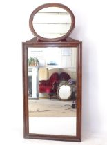 A 19th century rosewood and floral marquetry decorated 2-section wall mirror, W81cm, H187cm