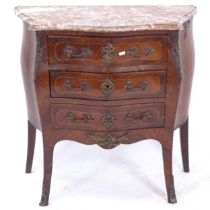 A Continental walnut commode of serpentine form, with shaped marble top, 3 drawers and ormolu