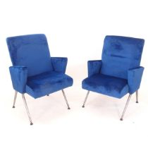 A pair of mid-century armchairs, recently re-upholstered, originally from the Curzon cinema