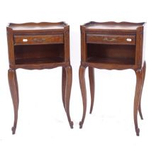 A pair of French oak single-drawer bedside cabinets, W38cm, H67cm