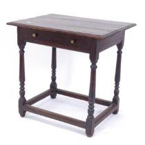 An 18th century oak side table with single frieze drawer, W65cm, H62cm, D48cm