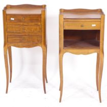 A pair of French walnut bedside chests, W34cm, H70cm