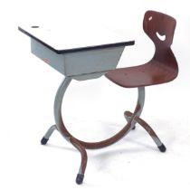 A Belgian industrial style school desk, with bent-ply seat, label for D. Lesage, W55cm, H73cm, D40cm