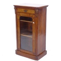 A Victorian walnut music cabinet, with drawer and glazed cupboard under, W53cm, H92cm, D34cm
