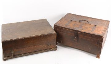 An Indian wrought-metal bound hardwood trunk box, and a Vintage oak cutlery box (2)