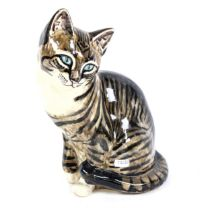 A large Seneshall Studio pottery seated tabby cat figure, Tinkabelle, signed, height 29cm No chips