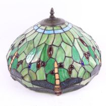 A large Tiffany style leadlight dragonfly lamp shade, diameter 40cm No major damage or lost