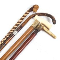 Various walking sticks and canes, including 19th century ivory-handled malacca example (4)