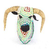 A Spanish multi-coloured rope bull-head, height 35cm