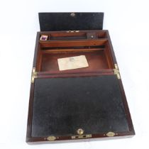 A mahogany and rosewood brass inlaid writing slope, with recessed handles and internal drawers,