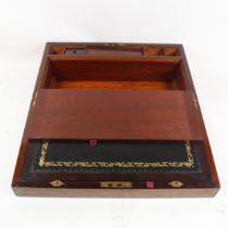 A 19th century rosewood brass inlaid writing slope, width 46cm
