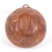 A 1950s Fulham Football Club signed Sanfine leather football, including Bobby Robson, Joe Bacuzzi,