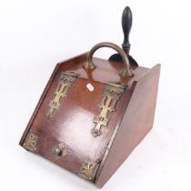 A Victorian brass-bound mahogany Gothic coal purdonium, H27cm, W26cm, D35cm