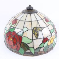 A large Tiffany style leadlight butterfly and roses lamp shade, diameter 40cm No major losses, a few