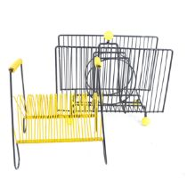 A retro mid-century Atomic style wirework and yellow plastic magazine rack, and a similar letter