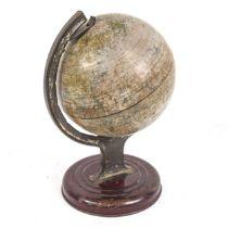 A Vintage Chad Valley tinplate desk-top terrestrial globe, height 20cm