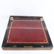 A George III brass-bound burr-walnut writing slope, width 50cm
