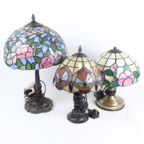 3 Tiffany style leadlight table lamps, including hummingbird example, largest height 47cm (3)