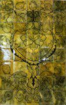 Beryl Turpin, a set of 40 enamel copper panel tiles, Art Nouveau style floral design, mounted on MDF