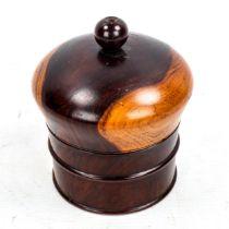 A 19th century lignum vitae string box, height 11.5cm, diameter 9cm Good condition